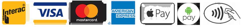 Interac, Visa, Mastercard, American Express